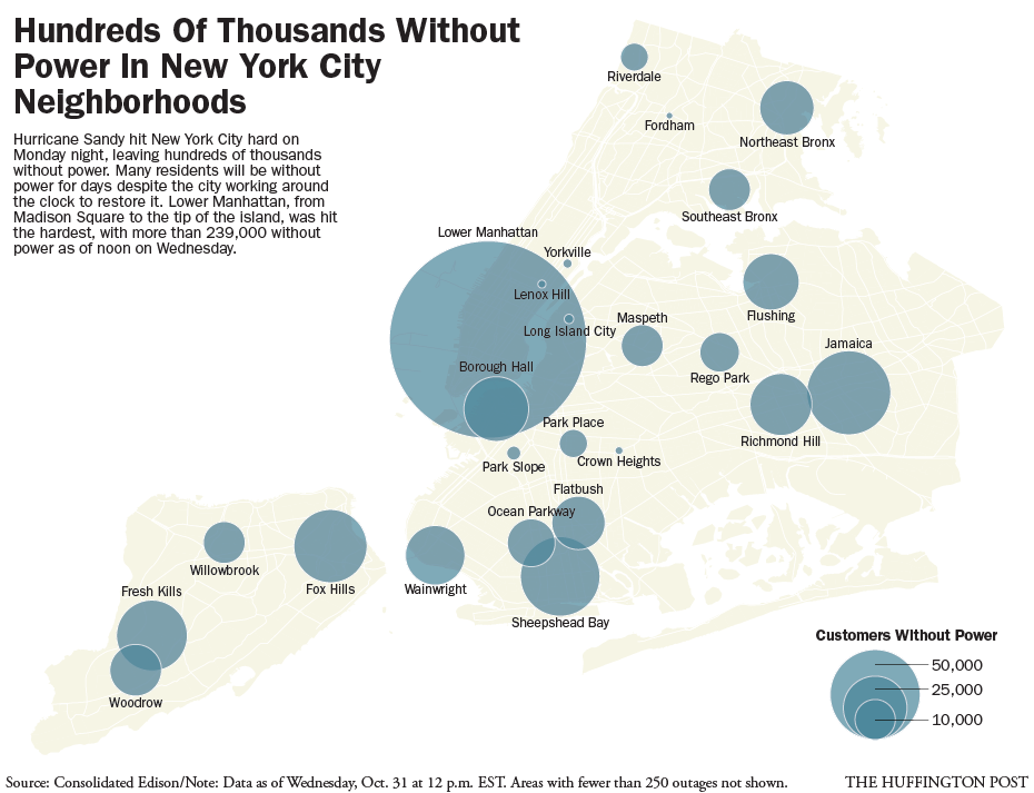 Hurricane Sandy New York City Power Outage Map Thousands