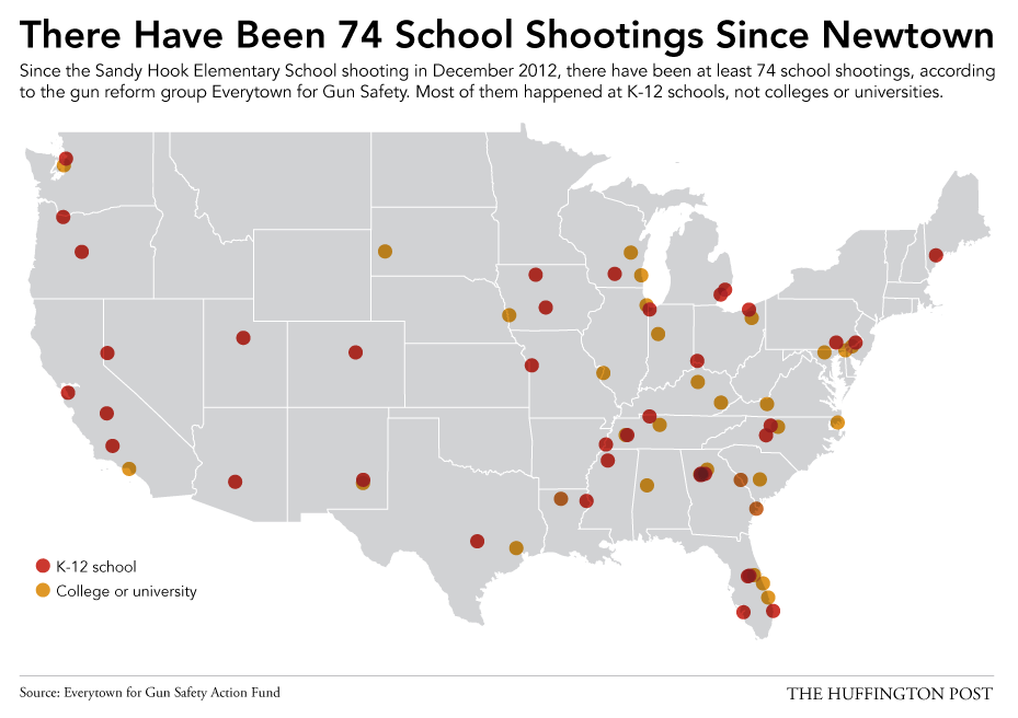 All 74 School Shootings Since Newtown In One Depressing Map