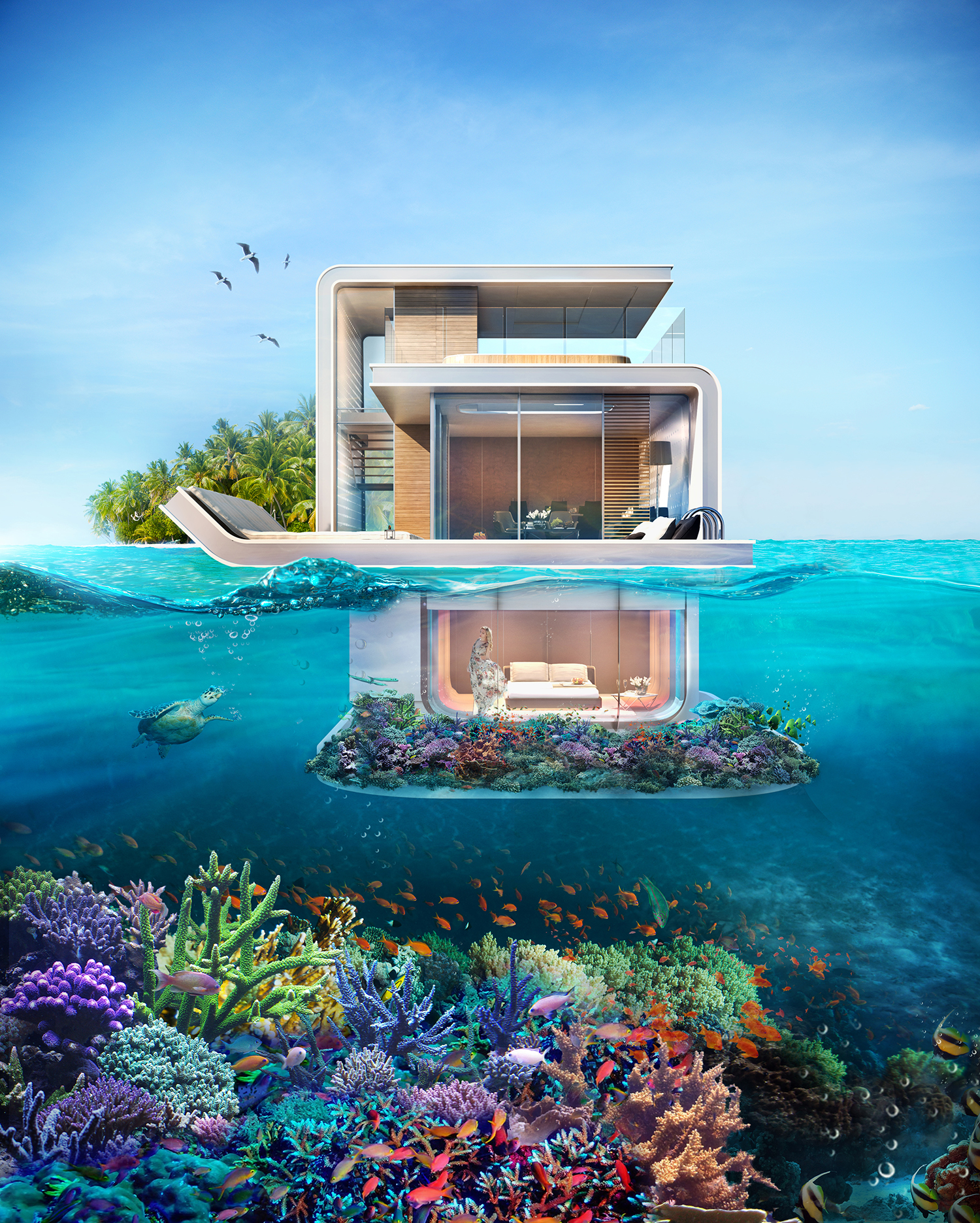 Dubais Floating Seahorse Homes Are Partially Submerged And Totally Futuristic