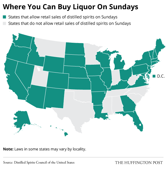 Here Are The Rules To Buying Alcohol In Each States Grocery - Huffington post us election map