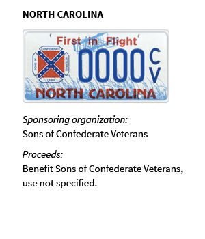 NORTH CAROLINA: Sponsoring organization: Sons of Confederate Veterans; Proceeds: Benefit Sons of Confederate Veterans, use not specified