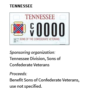 TENNESSEE: Sponsoring organization: Tennessee Division of Sons of Confederate Veterans; Proceeds: Benefit Tennessee Division of Sons of Confederate Veterans, use not specified
