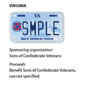 VIRGINIA: Sponsoring organization: Sons of Confederate Veterans; Proceeds: Benefit Sons of Confederate Veterans, use not specified