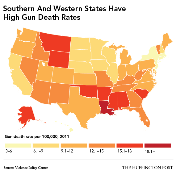 Higher Gun Death Rates In States With Weak Gun Laws And