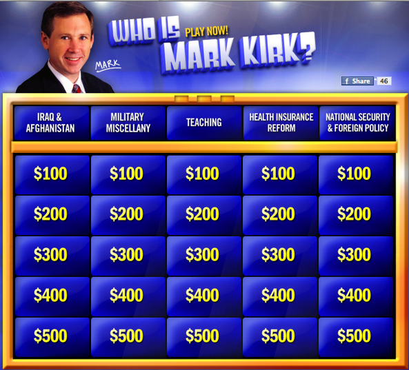 Examples Of Jeopardy Categories: Who Is Mark Kirk? Giannoulias Campaign Launches New