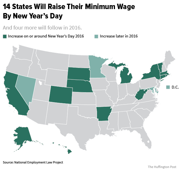 Minimum Wage Going Up In 14 States At Start Of 2016