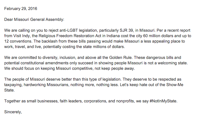 Missouri anti gay marriage activists