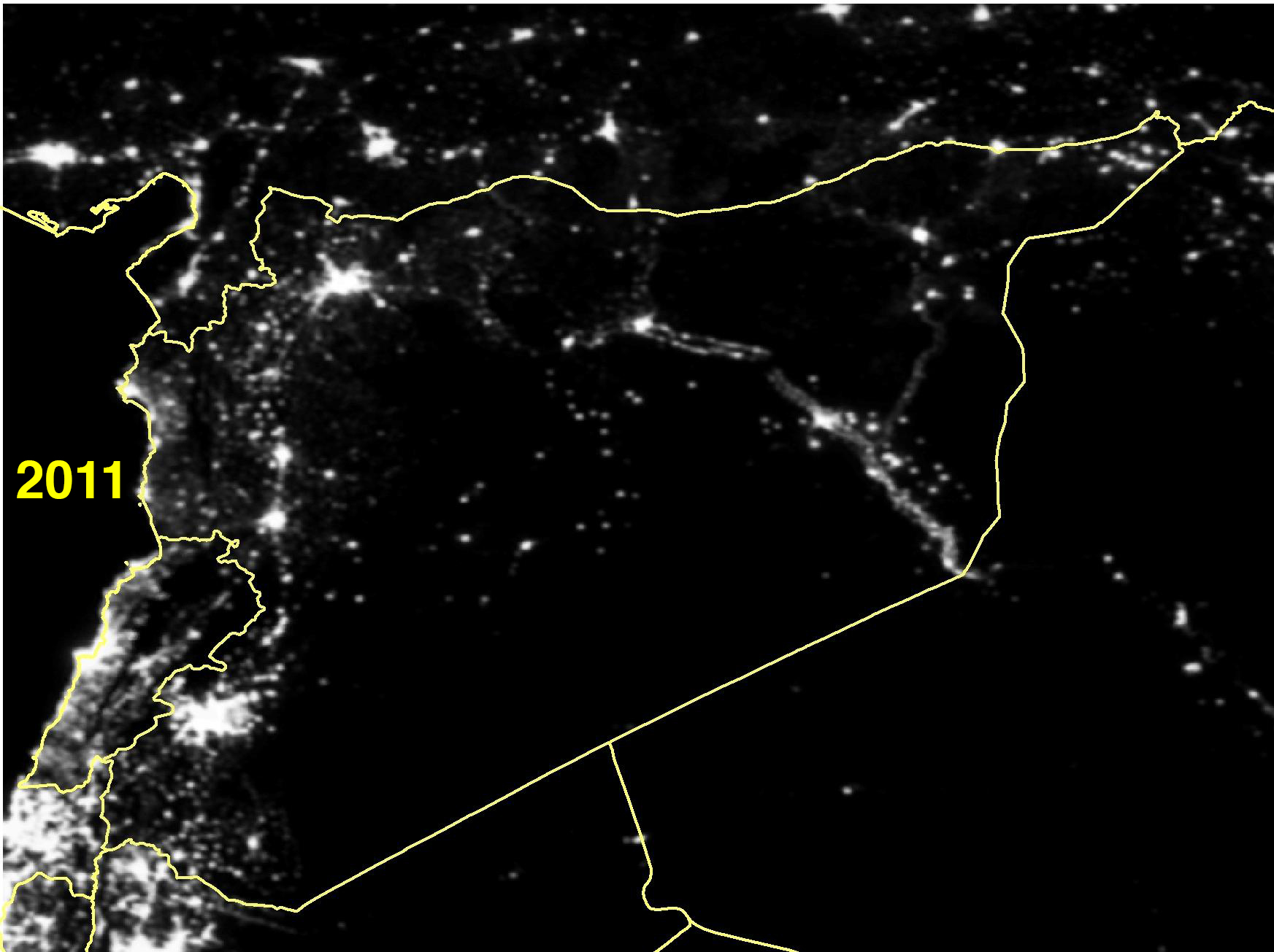 Satellite Images Show How War Turned Out The Lights In Syria - World satellite map lights