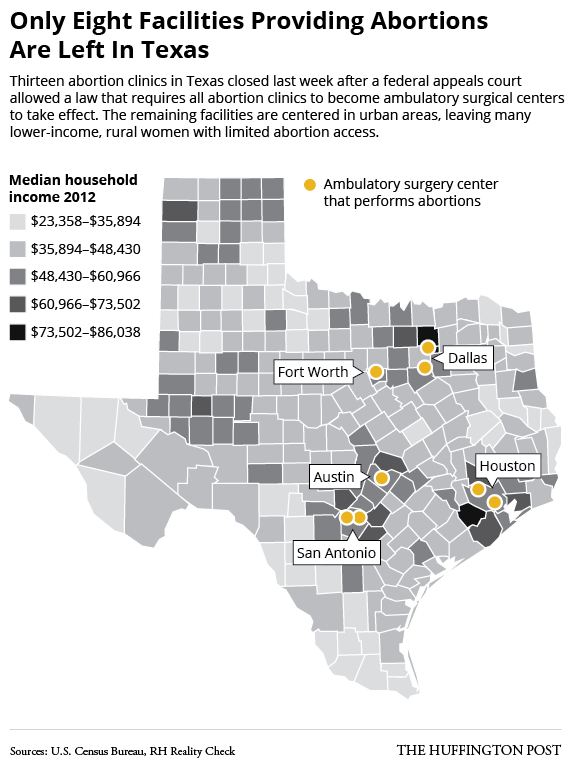 Map Shows Abortion Access In Texas Now Only For Wealthy HuffPost - Map of abortion us