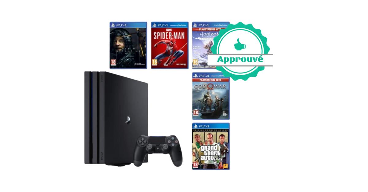 Promo certifiée - PS4 Pro 1 To + 5 jeux