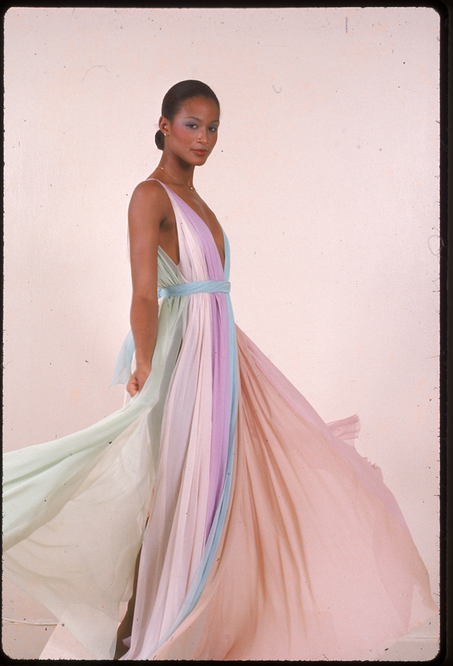 Beverly Johnson Looks Gorgeous While Modeling A Halston Gown In The ...