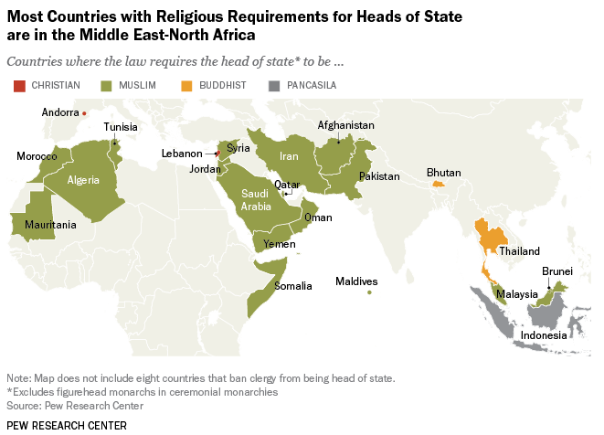 Of The Worlds Countries Require Their Heads Of State To Be - Christian countries in the world map