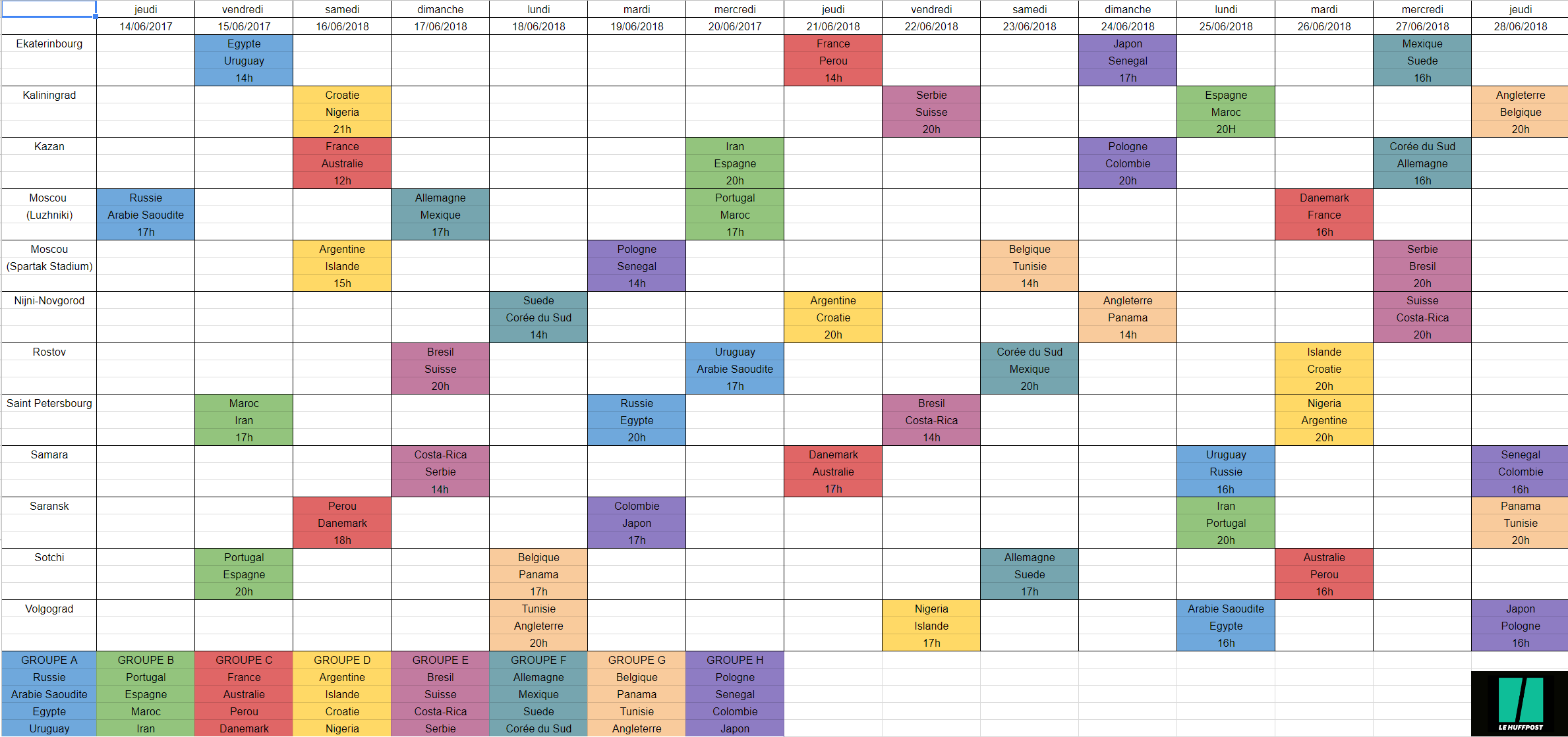 calendrier coupe du monde 2018 les dates et horaires des matches par groupe. Black Bedroom Furniture Sets. Home Design Ideas