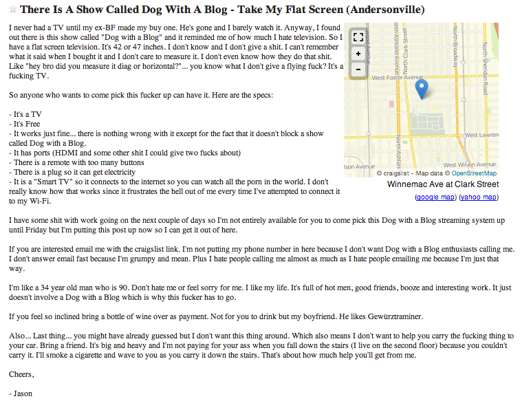 this craigslist guy hates 39 dog with a blog 39 so much he wants to give you his tv huffpost. Black Bedroom Furniture Sets. Home Design Ideas