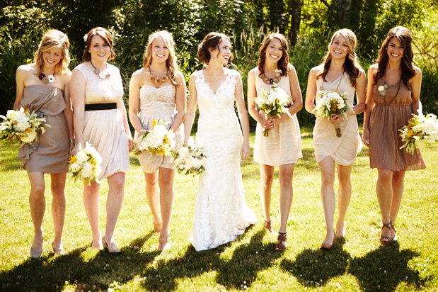 Can You Wear Cream To A Wedding: 7 Bridal Parties Who Totally Nailed The 'Mismatched