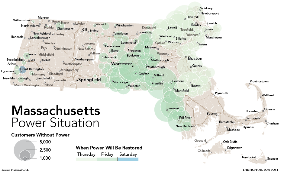 Mass Power Outage Map.Massachusetts Power Outages Map Hurricane Sandy Leaves Thousands