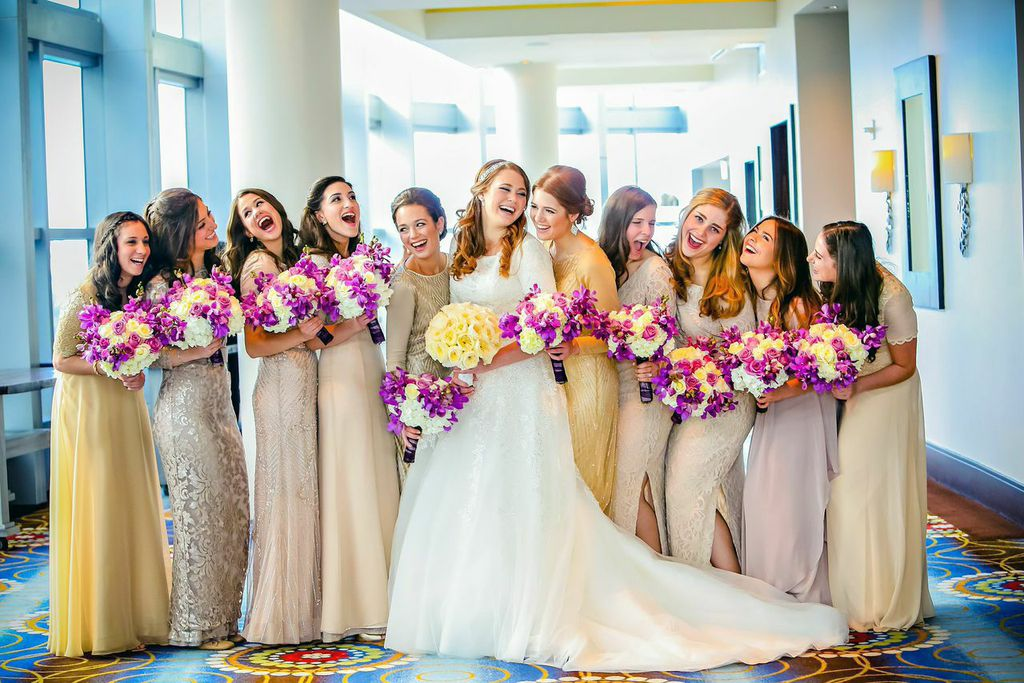Bridal party same color different dresses for bridesmaids