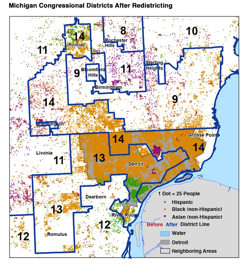Michigan Redistricting Maps Approved By Department Of Justice - Us house of representatives district map michigan