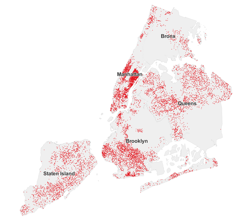 See Who Didn't Vote For De Blasio (MAPS) | HuffPost Dot Map Nyc on