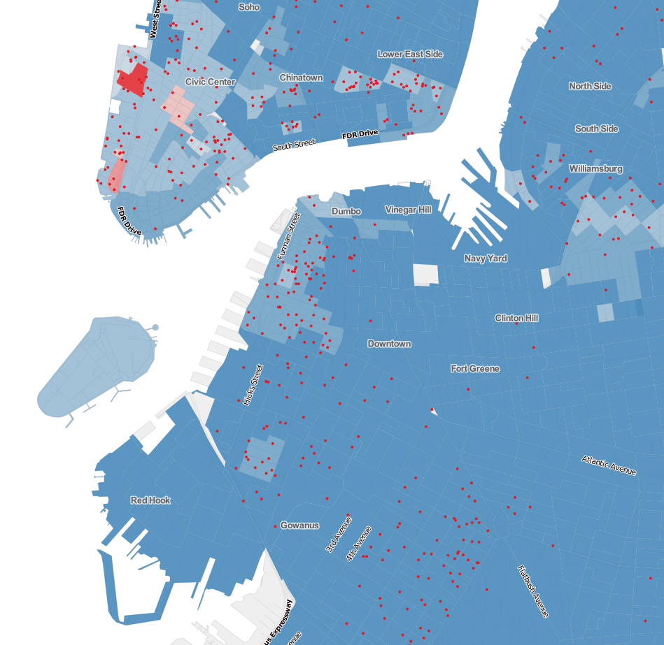 See Who Didnt Vote For De Blasio MAPS HuffPost - Nyc map by crime