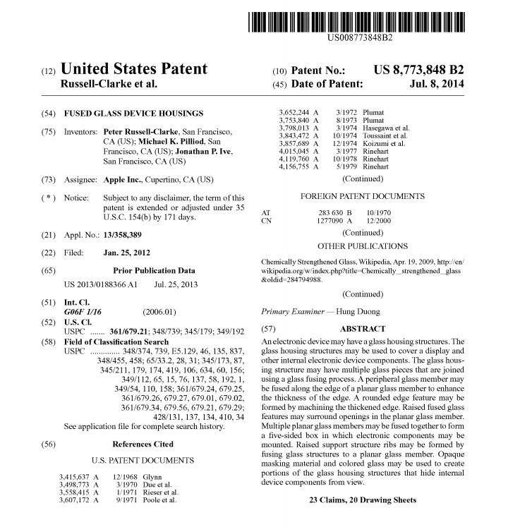 apple fused glass device housings patent