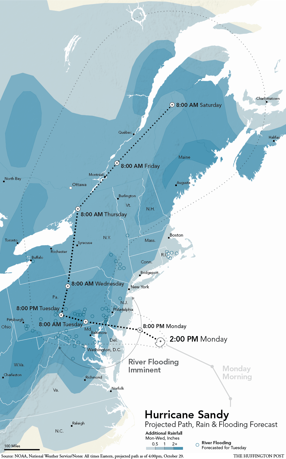 Hurricane Sandy Map Shows Storms Path Towards US Northeast - Us northeast map