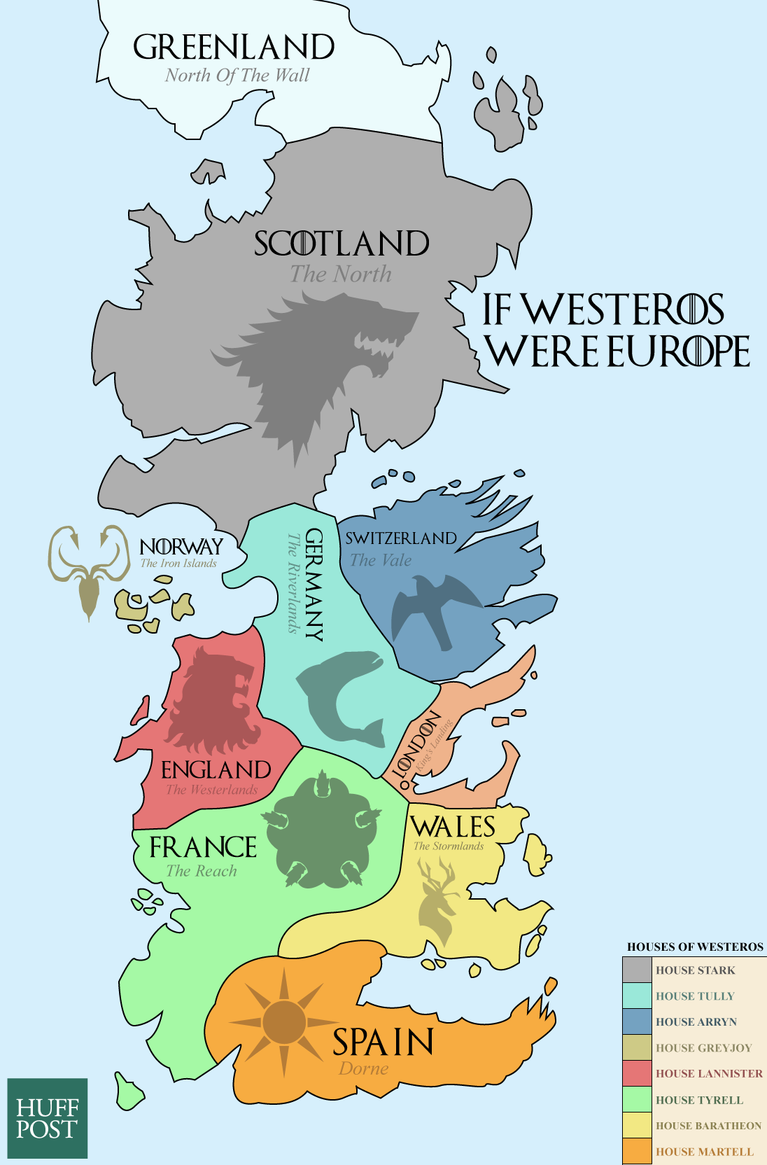 This Map Of Westeros Shows The European Equivalents Of The Seven ...